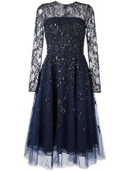Oscar De La Renta Sequined Lace Overlay Dress Blue