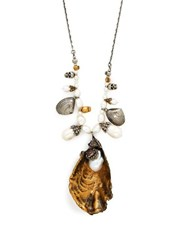 Alexander Mcqueen Oyster Baroque Pearl Necklace Gold