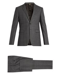 Burberry Checked Notch Lapel Wool Suit Grey Multi