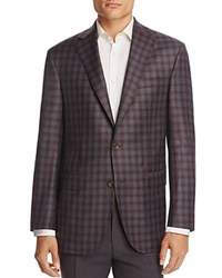 Jack Victor Gingham Plaid Classic Fit Sport Coat Blue Brown