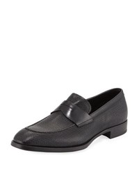 Giorgio Armani Textured Leather Penny Loafer Navy