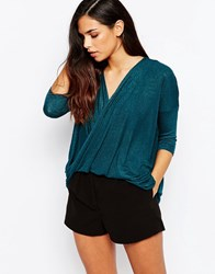 Ax Paris Cross Wrap Front Knit Top Teal Green