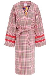 Stella Jean Woman Fringe Trimmed Prince Of Wales Checked Cotton Blend Coat Pink
