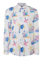 Topman White And Multicoloured Hula Print Viscose Casual Shirt