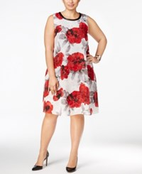 Si Fashions Sl Plus Size Floral Print Shift Dress Red Multi