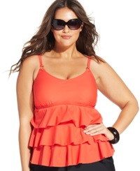 Island Escape Plus Size Tiered Ruffle Tankini Top Women's Swimsuit Coral