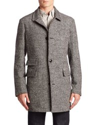 Billy Reid Real Nutria Astor Wool And Silk Blend Coat Grey