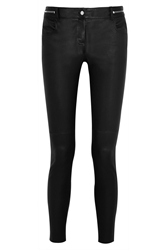 Givenchy Skinny Pants In Black Leather With Zip Detail