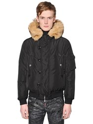 Dsquared Fur Trimmed Padded Nylon Bomber Jacket