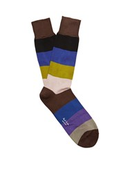 Paul Smith Wide Striped Cotton Blend Socks Brown Multi