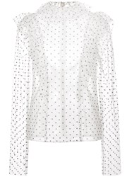 Monique Lhuillier Polka Dot Ruffle Blouse Nude And Neutrals