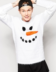 Asos Christmas Jumper In Brushed Yarn White