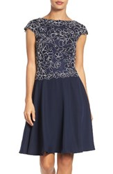 Tadashi Shoji Women's Embroidered Lace Fit And Flare Dress Royal Navy
