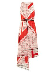 Altuzarra Pavilion Bandana Print Silk Dress Red White