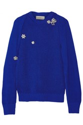 Preen Sofie Crystal Embellished Cutout Cotton Sweater Bright Blue