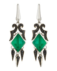 Stephen Webster Synthetic Chrysophrase And Black Sapphire Spike Drop Earrings
