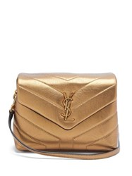Saint Laurent Loulou Toy Metallic Leather Bag Gold