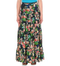 Karen Millen Tropical Print Chiffon Maxi Skirt Grey