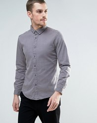 Esprit Denim Shirt In Washed Gray Blue