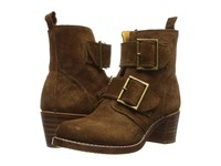 Frye Sabrina Double Buckle Wood Oiled Suede Cowboy Boots Brown