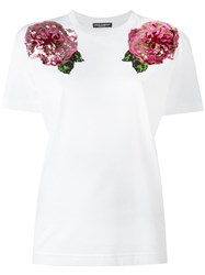 Dolce And Gabbana Rose Sequinned T Shirt White