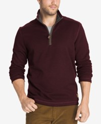 G.H. Bass And Co. Men's Zip Neck Fleece Pullover Winetasting Heather