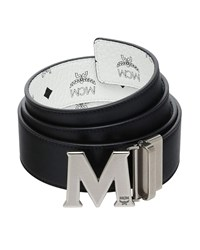 Mcm Visetos Reversible M Buckle Monogram Belt White