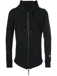11 By Boris Bidjan Saberi Printed Back Zip Up Hoodie Men Cotton Polyamide Spandex Elastane L Black