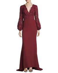 J. Mendel V Neck Lace And Crepe Combo Gown Red