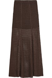 Missoni Crochet Knit Maxi Skirt Brown