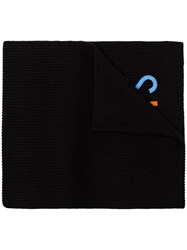 Versace Black Logo Embroidered Ribbed Wool Scarf