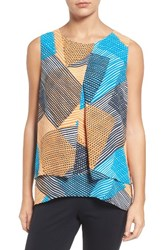 Chaus Women's Basket Weave Print Tiered Blouse