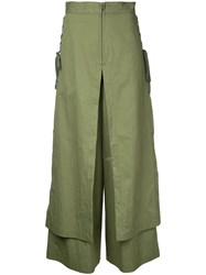 G.V.G.V. Lace Up Layered Wide Trousers Women Cotton Nylon 36 Green
