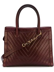 Chanel Vintage Chevron Quilted Tote Bag Red