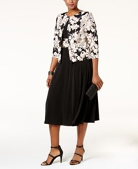 Jessica Howard Plus Size Empire Waist Dress And Printed Jacket Black Ivory
