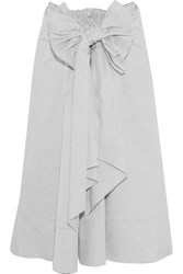 Tome Bow Embellished Cotton Midi Skirt Gray