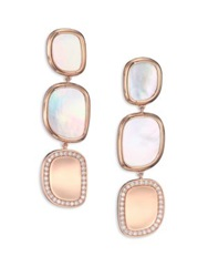 Roberto Coin Mother Of Pearl Diamond And 18K Rose Gold Drop Earrings
