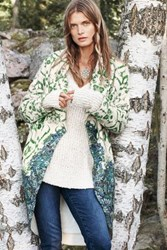 Anthropologie Sugar Pine Sweater Coat Green Motif