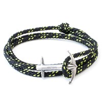 Anchor And Crew Admiral Rope And Silver Bracelet Solid Black