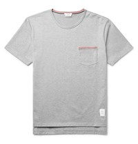 Thom Browne Slim Fit Grosgrain Trimmed Cotton Jersey T Shirt Gray