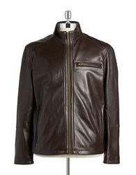 Cole Haan Lambskin Leather Moto Jacket Java