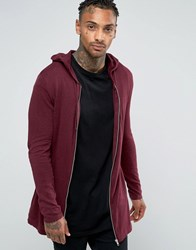Asos Longline Knitted Zip Up In Red Burgundy