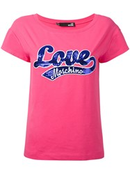 Love Moschino Sequin Embroidered T Shirt Women Cotton Spandex Elastane 44 Pink Purple