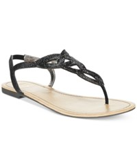 Material Girl Swirlz T Strap Flat Sandals Only At Macy's Women's Shoes Black