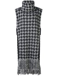 Oscar De La Renta Houndstooth Knitted Top Black