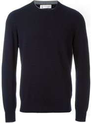 Brunello Cucinelli Crew Neck Sweater Blue