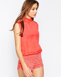 Ax Paris Silk Top Playsuit With Sequin Shorts Coral