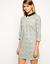 Asos Reclaimed Vintage Smudge Wave Collar Dress Multi