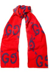 Gucci Intarsia Wool Scarf Red