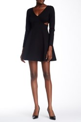 Halston Long Sleeve Side Cutout Mini Dress Black